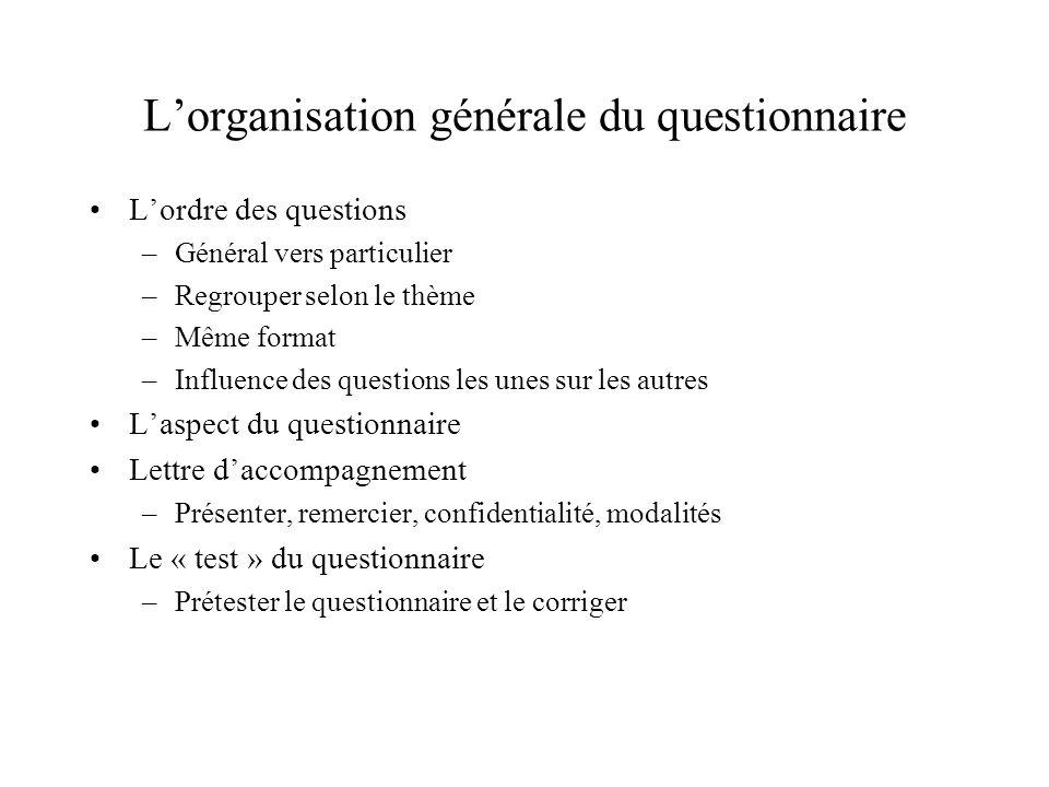 L'organisation générale du questionnaire