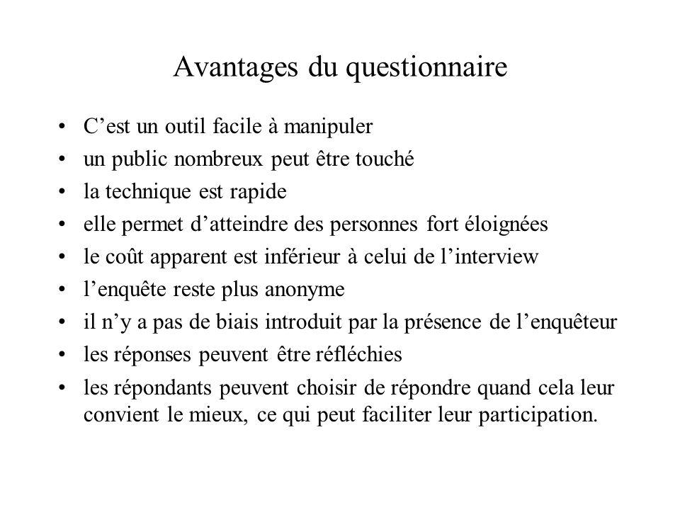Avantages du questionnaire