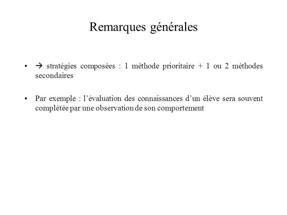 Remarques générales  stratégies composées : 1 méthode prioritaire + 1 ou 2 méthodes secondaires.