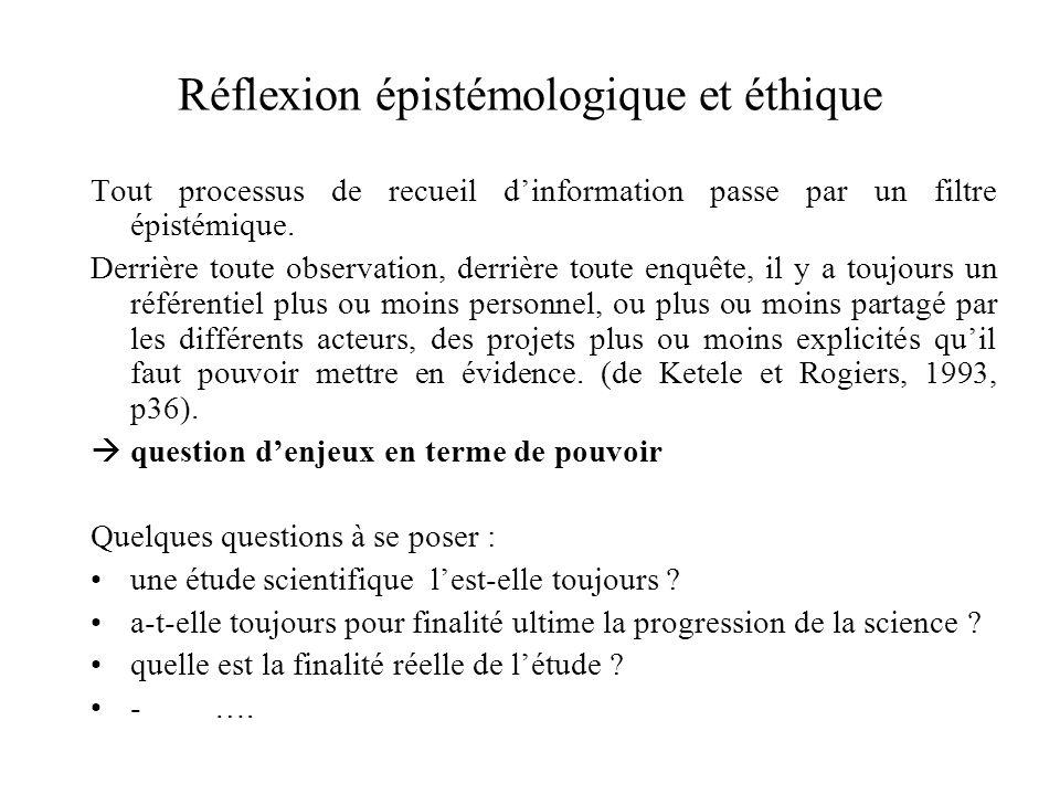 Réflexion épistémologique et éthique