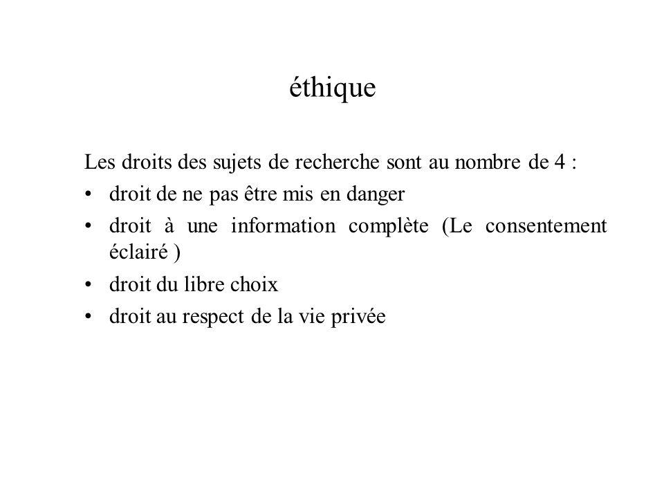 éthique Les droits des sujets de recherche sont au nombre de 4 :