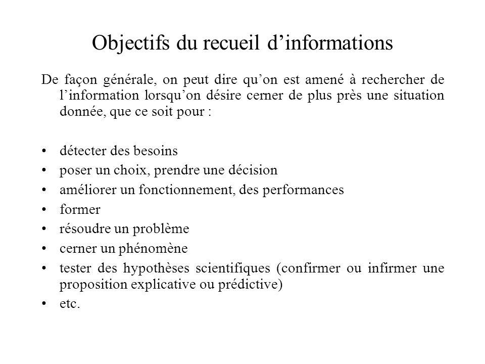 Objectifs du recueil d'informations