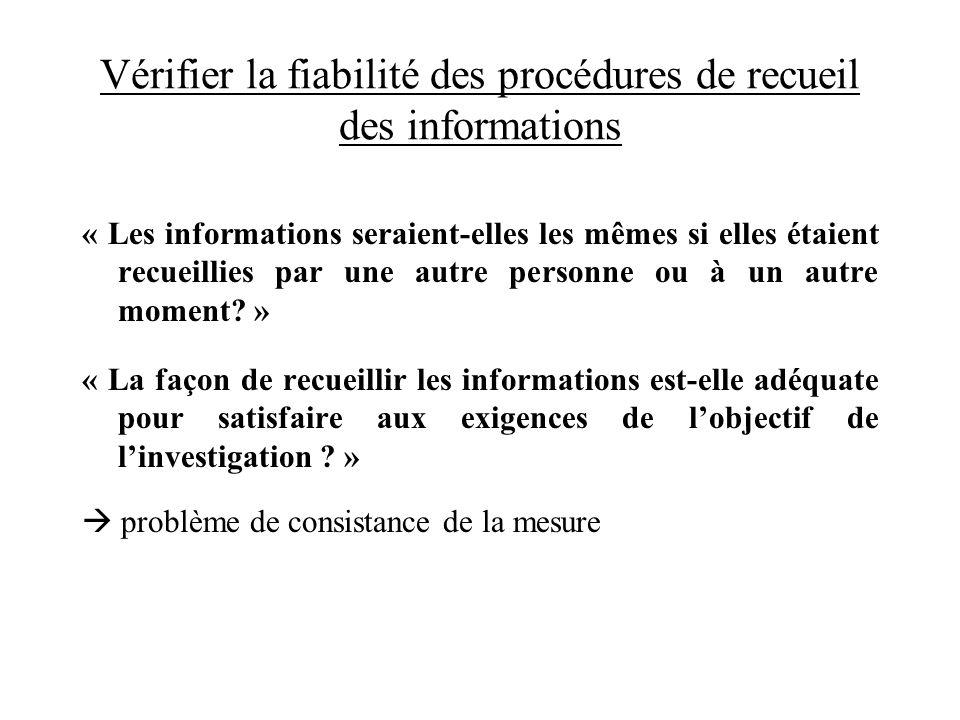 Vérifier la fiabilité des procédures de recueil des informations