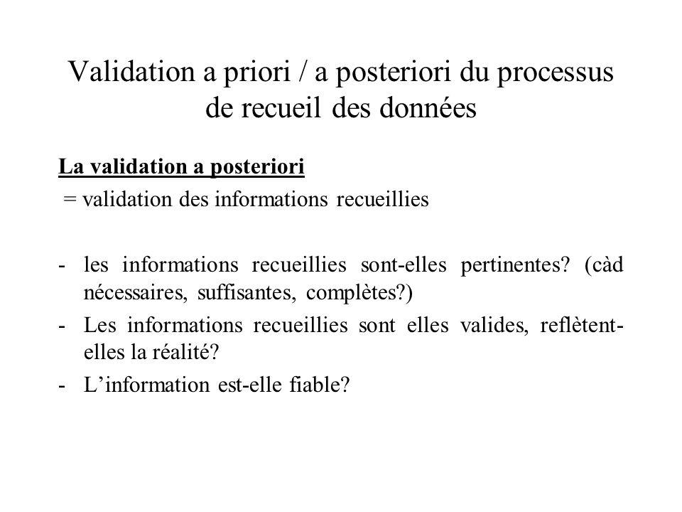 Validation a priori / a posteriori du processus de recueil des données