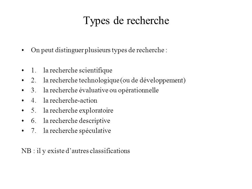 Types de recherche On peut distinguer plusieurs types de recherche :