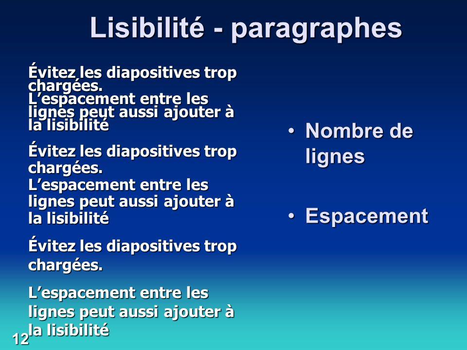 Lisibilité - paragraphes