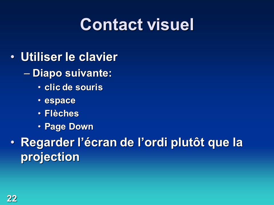 Contact visuel Utiliser le clavier