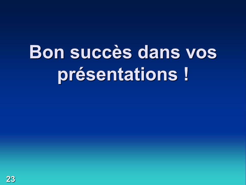 Bon succès dans vos présentations !
