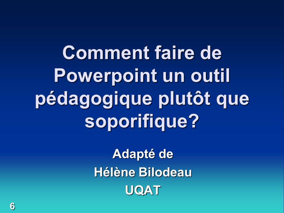 Adapté de Hélène Bilodeau UQAT