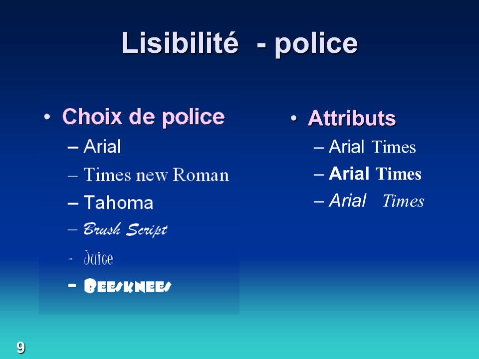 Lisibilité - police Choix de police Attributs Arial Times new Roman