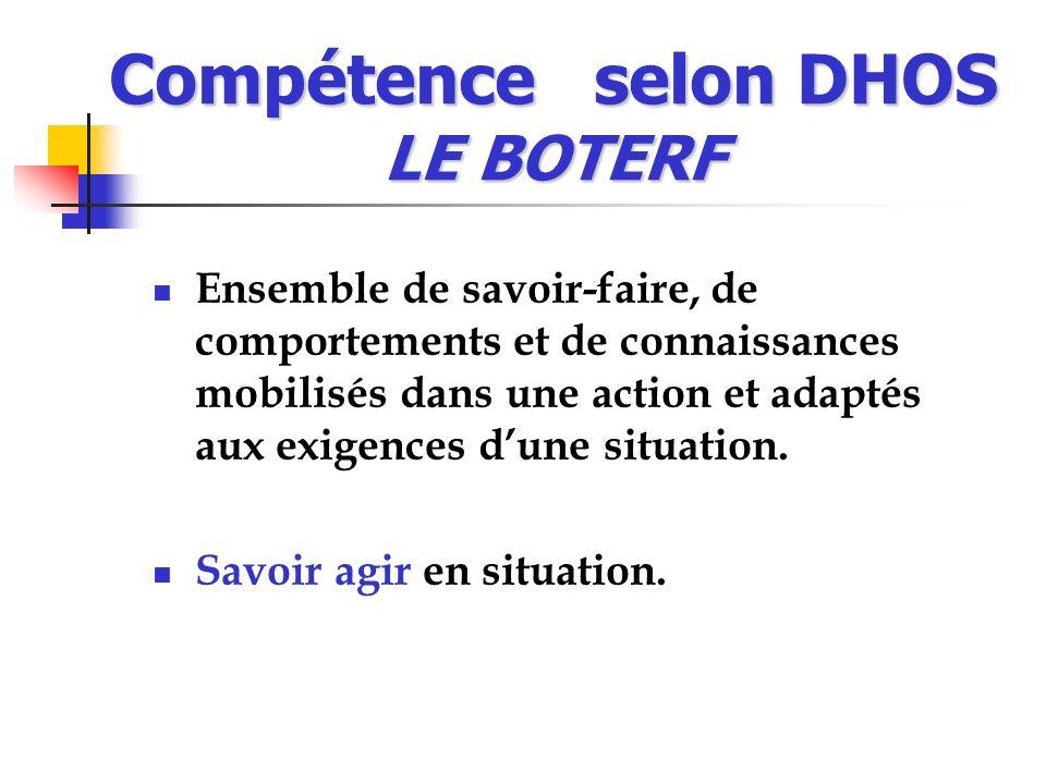 Compétence selon DHOS LE BOTERF