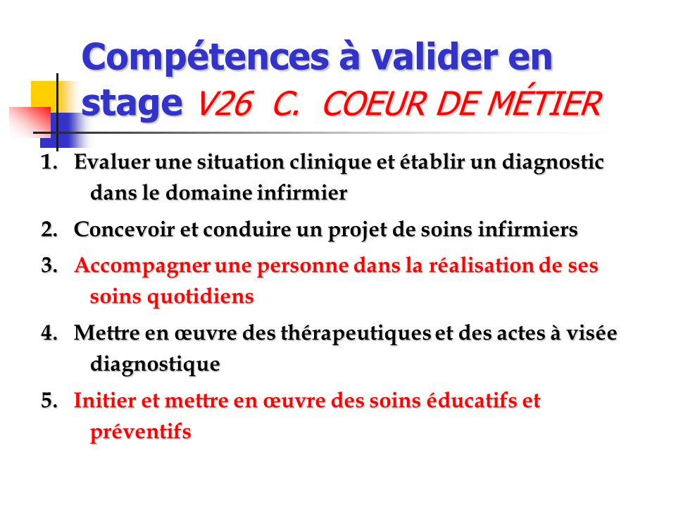 Compétences à valider en stage V26 C. COEUR DE MÉTIER