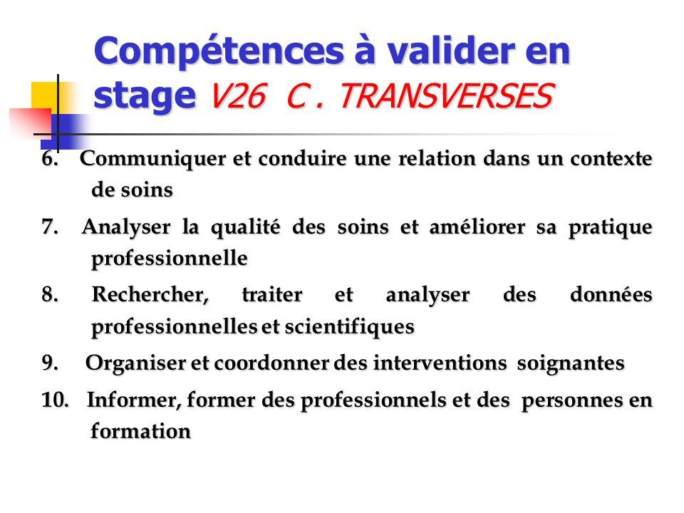 Compétences à valider en stage V26 C . TRANSVERSES