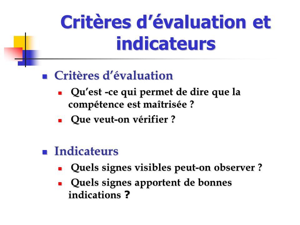 Critères d'évaluation et indicateurs