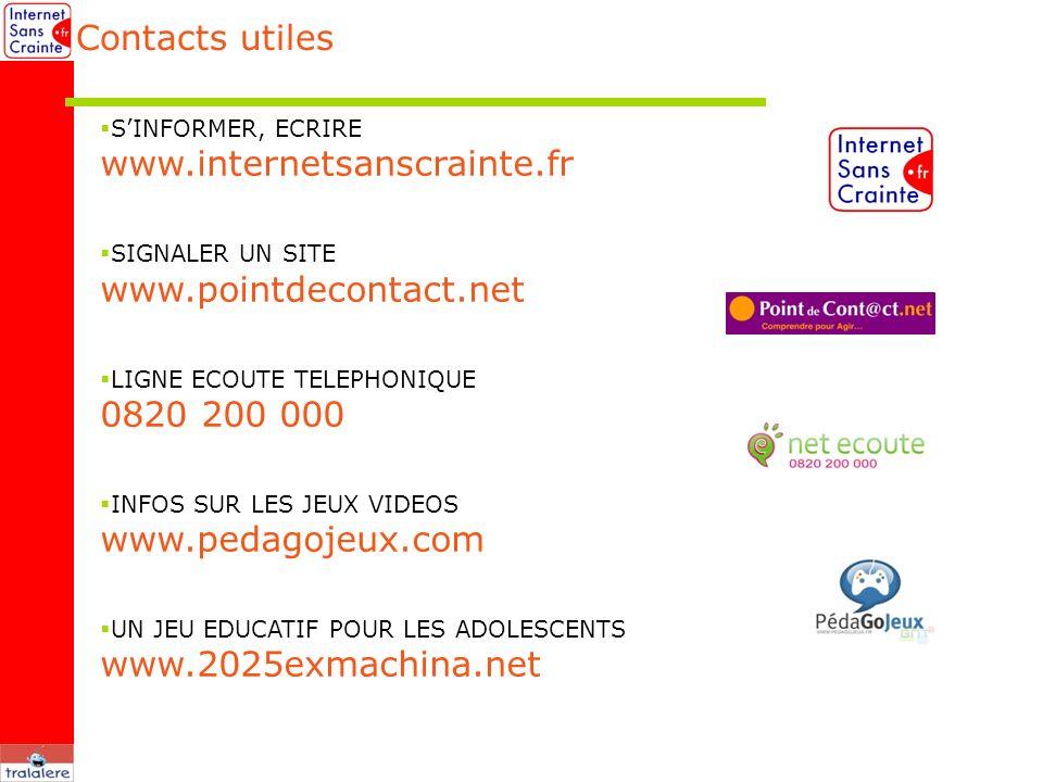 Contacts utiles www.internetsanscrainte.fr www.pointdecontact.net