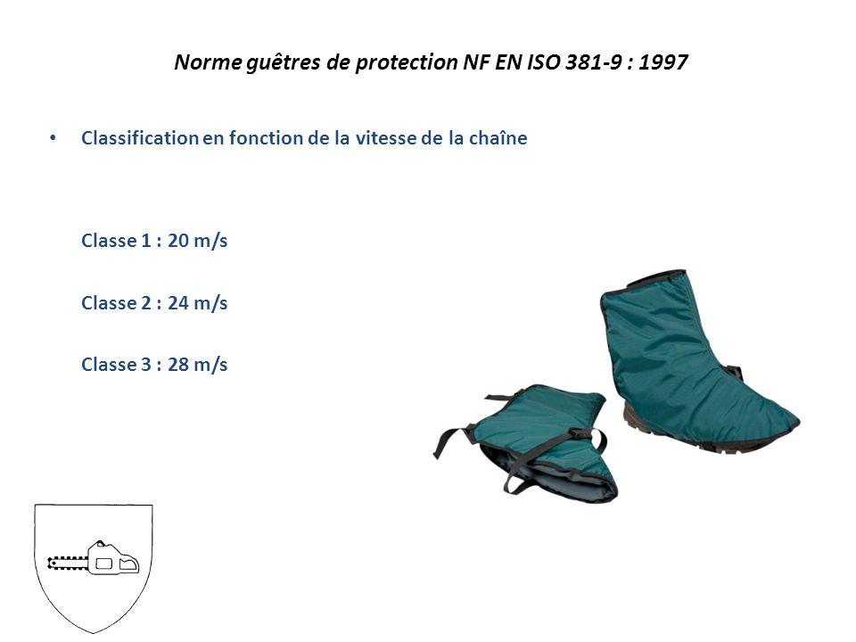 Norme guêtres de protection NF EN ISO 381-9 : 1997