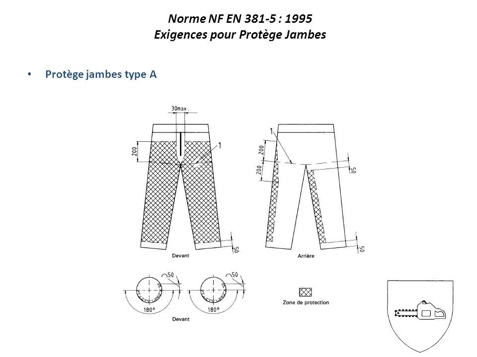 Norme NF EN 381-5 : 1995 Exigences pour Protège Jambes