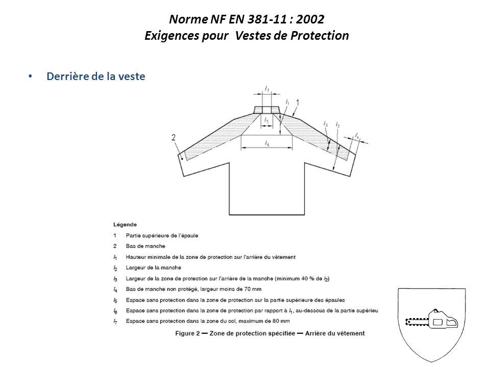 Norme NF EN 381-11 : 2002 Exigences pour Vestes de Protection