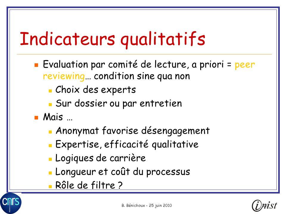 Indicateurs qualitatifs