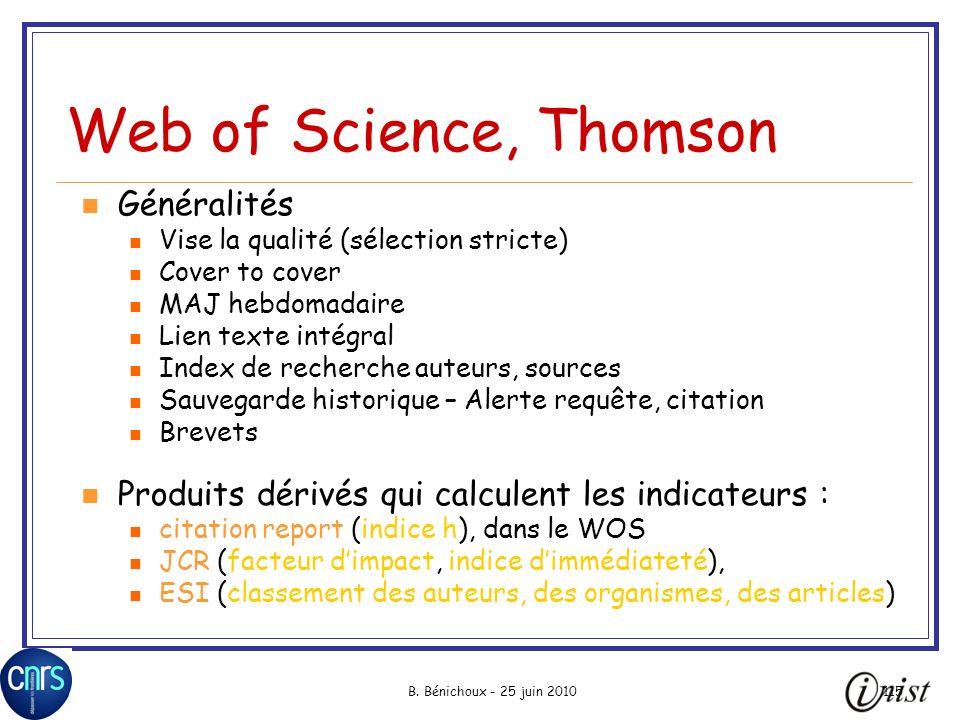 Web of Science, Thomson Généralités