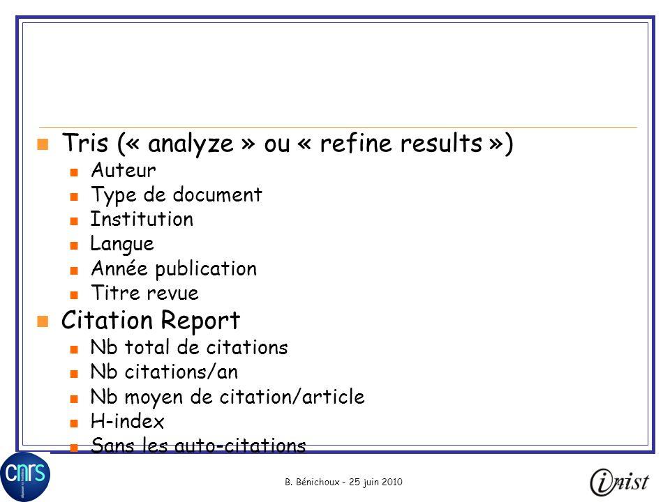 Tris (« analyze » ou « refine results »)