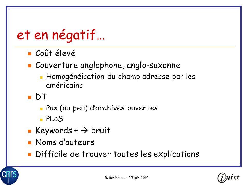 et en négatif… Coût élevé Couverture anglophone, anglo-saxonne DT