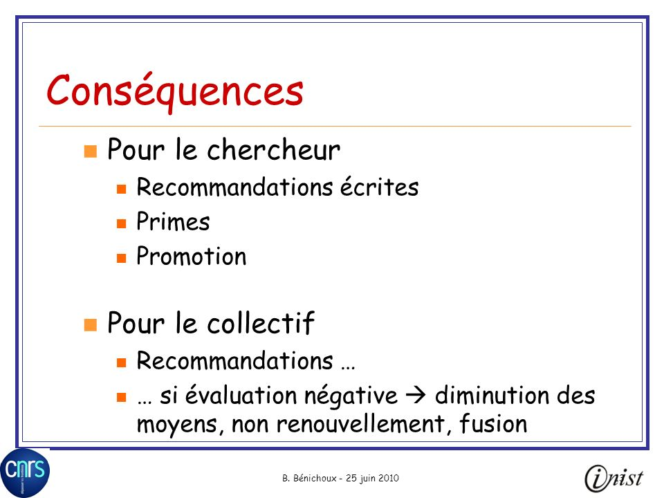 Conséquences Pour le chercheur Pour le collectif