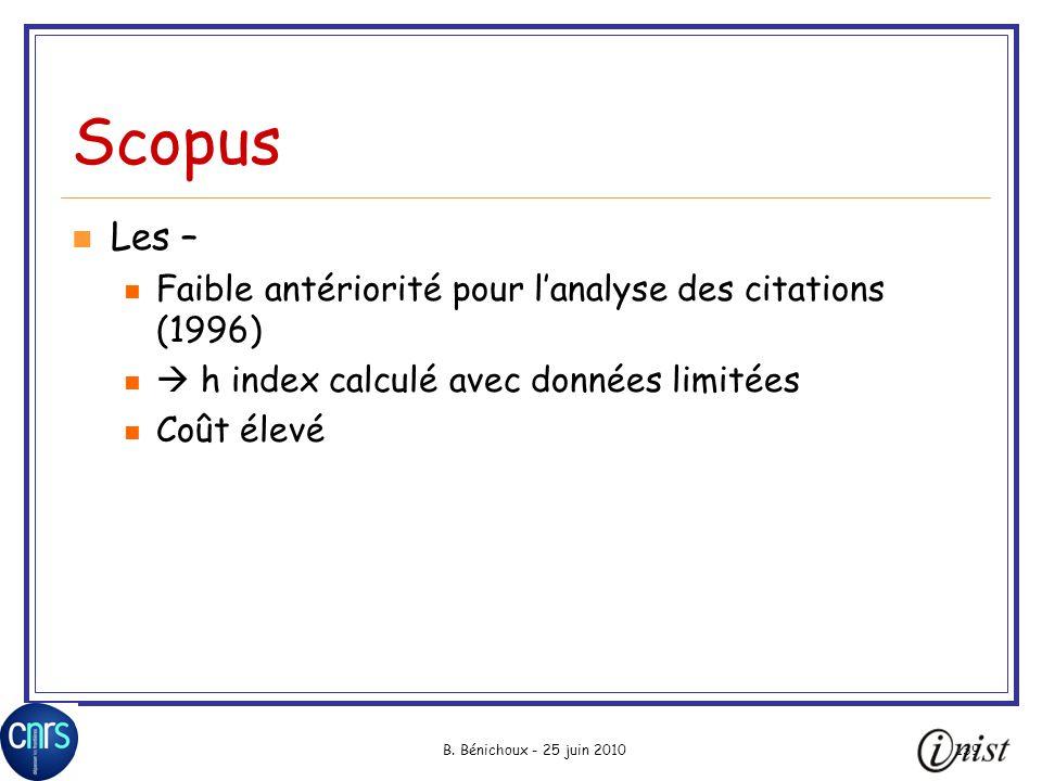 Scopus Les – Faible antériorité pour l'analyse des citations (1996)