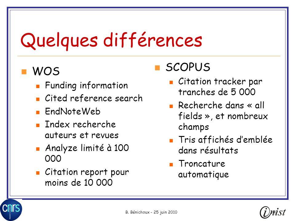 Quelques différences SCOPUS WOS Citation tracker par tranches de 5 000