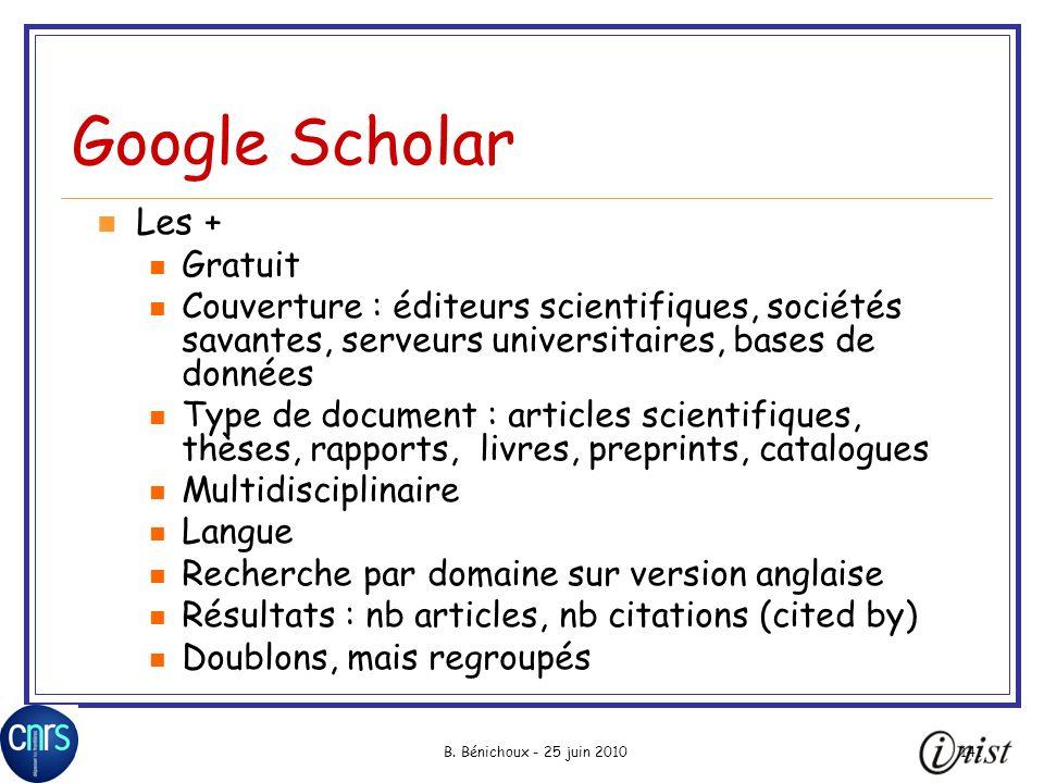 Google Scholar Les + Gratuit