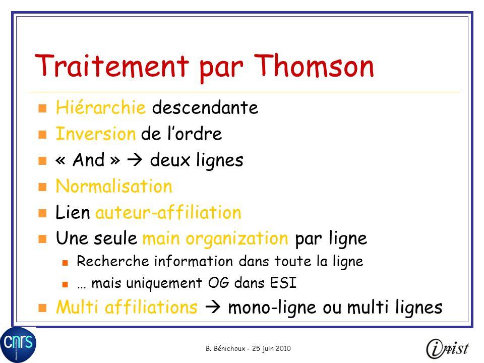 Traitement par Thomson