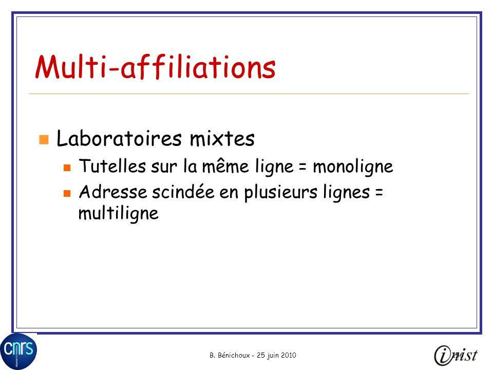 Multi-affiliations Laboratoires mixtes