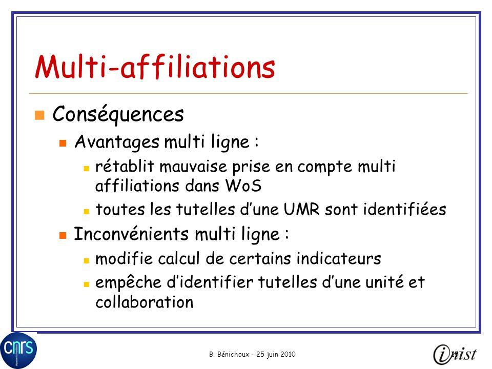 Multi-affiliations Conséquences Avantages multi ligne :