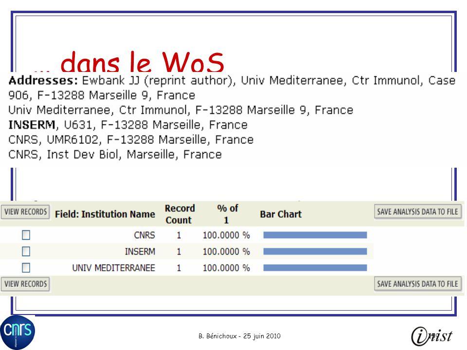 … dans le WoS Lancement de « analyze »