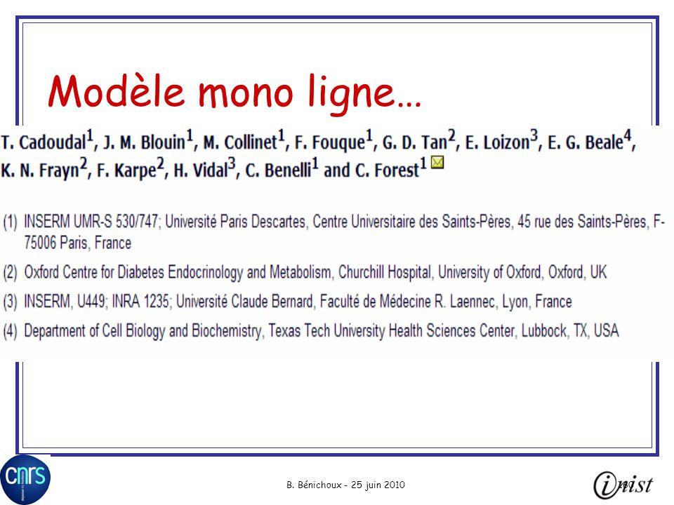 Modèle mono ligne… B. Bénichoux - 25 juin 2010