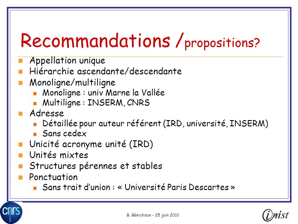 Recommandations /propositions