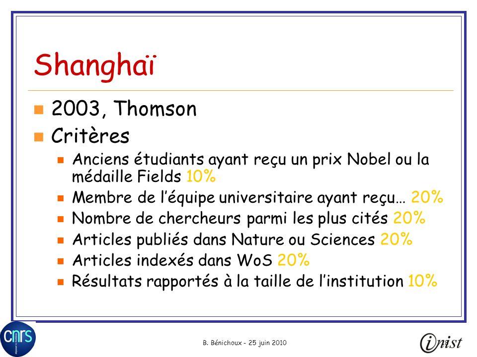 Shanghaï 2003, Thomson Critères