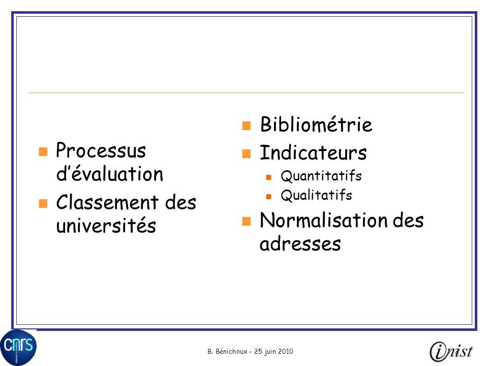 Normalisation des adresses Processus d'évaluation