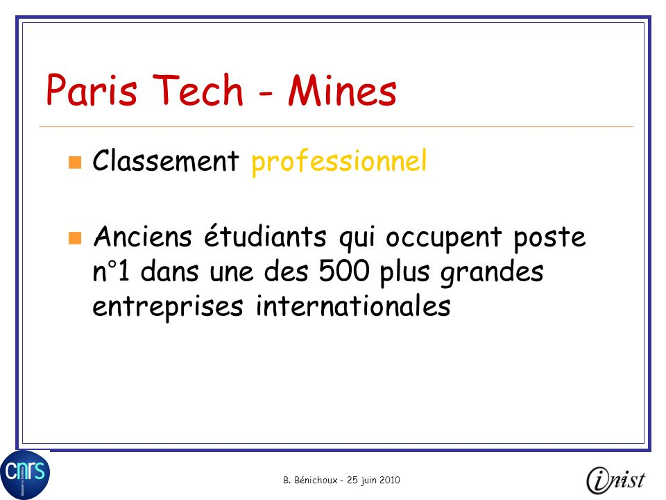 Paris Tech - Mines Classement professionnel
