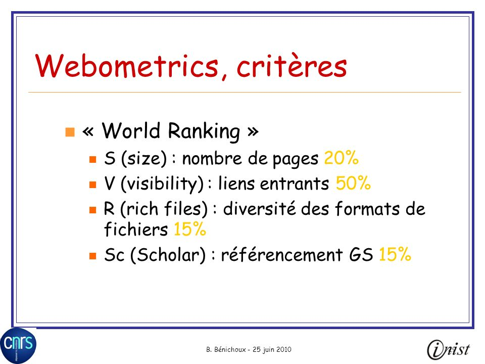 Webometrics, critères « World Ranking » S (size) : nombre de pages 20%