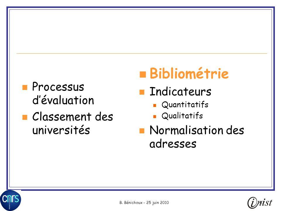 Bibliométrie Indicateurs Processus d'évaluation