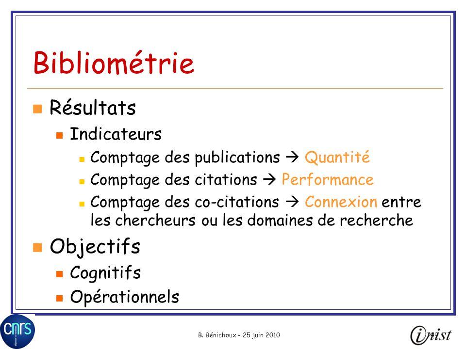 Bibliométrie Résultats Objectifs Indicateurs Cognitifs Opérationnels
