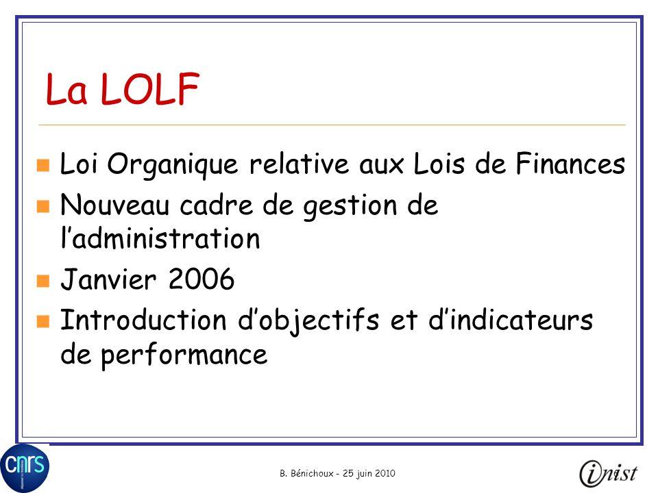 La LOLF Loi Organique relative aux Lois de Finances