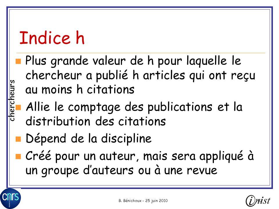 Indice h Plus grande valeur de h pour laquelle le chercheur a publié h articles qui ont reçu au moins h citations.