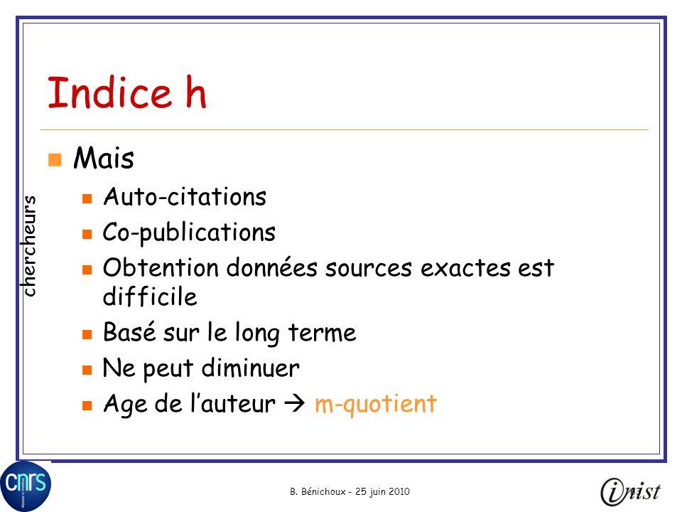 Indice h Mais Auto-citations Co-publications