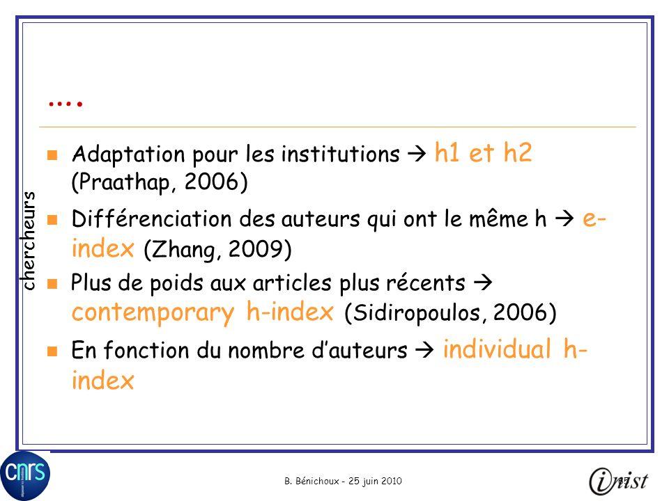 …. Adaptation pour les institutions  h1 et h2 (Praathap, 2006)