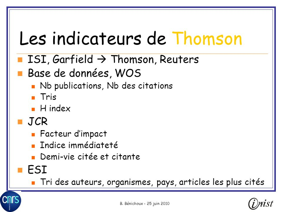 Les indicateurs de Thomson