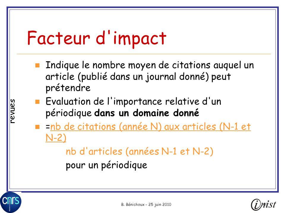 Facteur d impact Indique le nombre moyen de citations auquel un article (publié dans un journal donné) peut prétendre.
