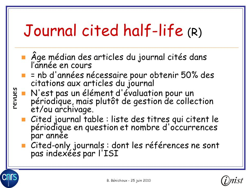 Journal cited half-life (R)