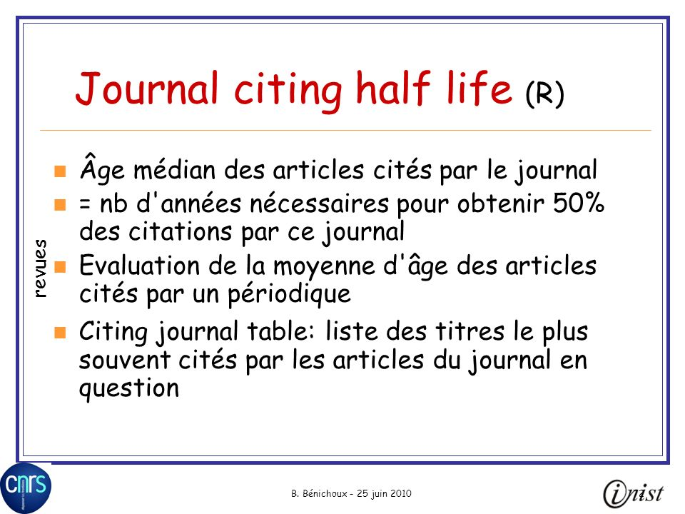 Journal citing half life (R)